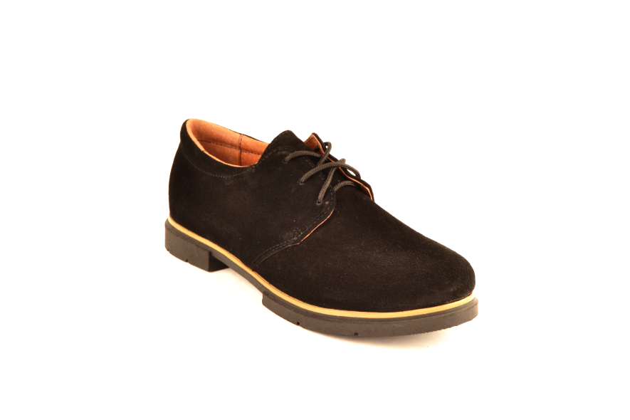 Туфли для мальчика подростковые шнуровка черные натуральная замша от производителя KARMEN 332021