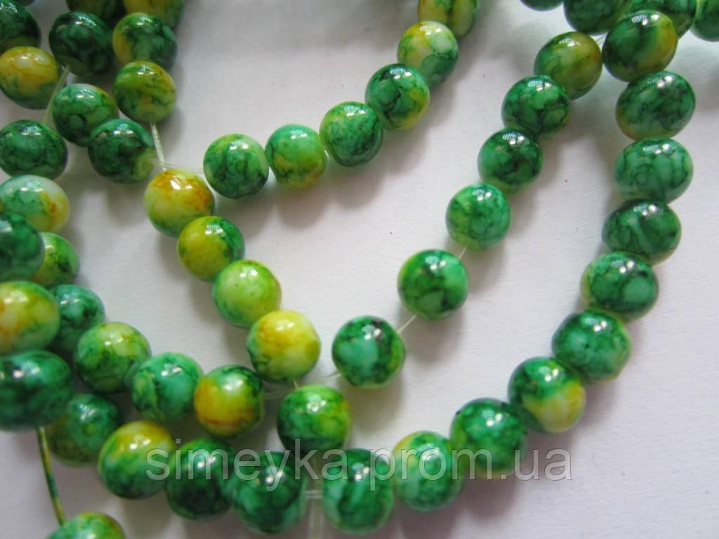 Бусина мраморная керамическая жёлто-зелёная 6 мм, 20 шт./уп.