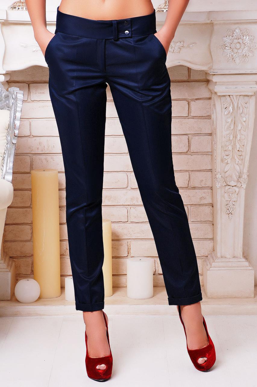 Женские классические брюки c низкой посадкой темно-синие
