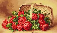 """Набор для вышивания крестиком (букеты) """"Корзинка с розами"""""""