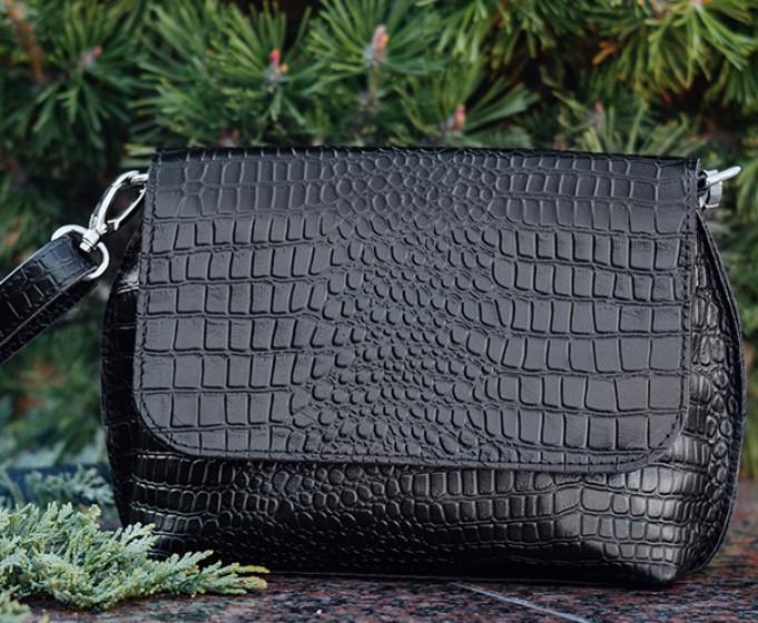 Женская кожаная сумка на плечо цвет чёрный