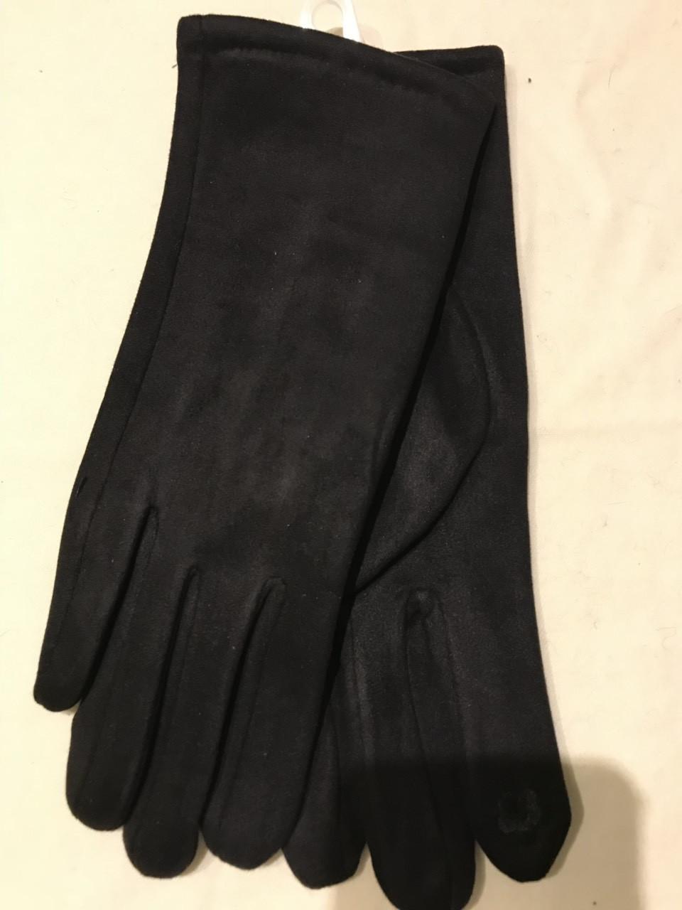 Черные  женские перчатки из эко замши сенсорные
