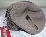 Шапка жіноча в'язана ангора, бежево-коричнева, фото 5