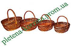 Набор пасхальных корзин из лозы (4шт.) №009А-4н