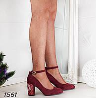 37 р. Туфли женские бордовые замшевые с ремешком на среднем каблуке 069e79de0ab27