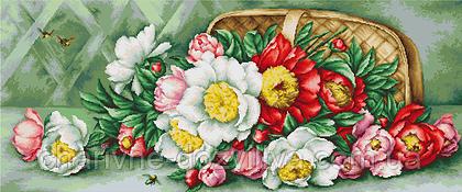 """Набор для вышивания крестиком (цветы) """"Корзина с пионами"""""""