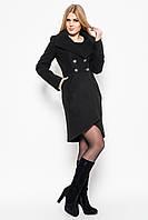 Красивое кашемировое женское осенне-весеннее пальто на пуговицах, оригинальным кроем подола, пояс стянут ремешком на пряжке черное, светло-бежевое,