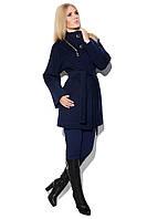 Ультрамодное женское пальто свободного кроя на потайных пуговицах и пояске светло-бежевое, темно-синее, кемел, черное
