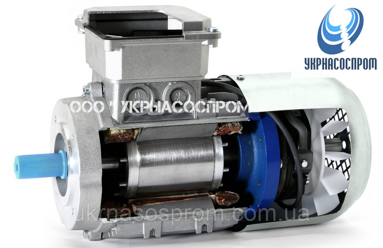 Электродвигатель АИР100S2E 4 Квт 3000 об/мин с электромагнитным тормозом