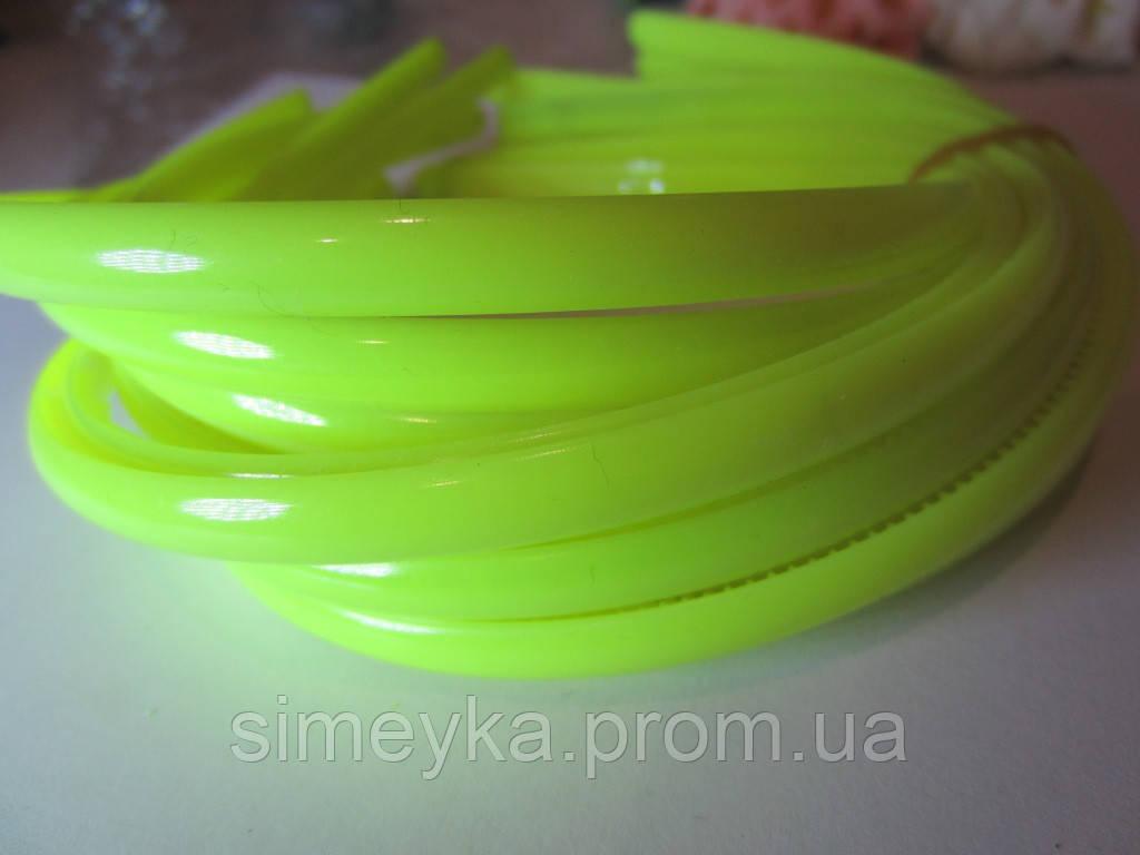 Обруч для волос пластиковый матовый простой 8 мм. Ярко-жёлтый (неоновый)