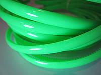 Обруч для волос пластиковый матовый простой 8 мм. Ярко-зелёный (неоновый)