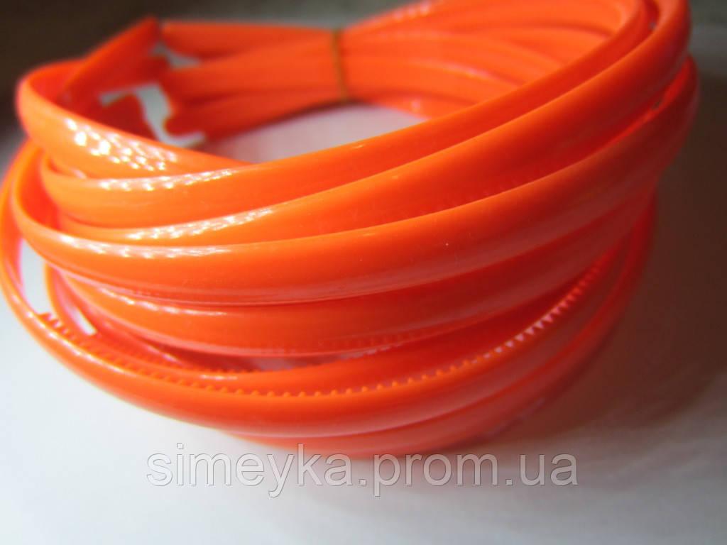 Обруч для волос пластиковый матовый простой 8 мм. Ярко-оранжевый