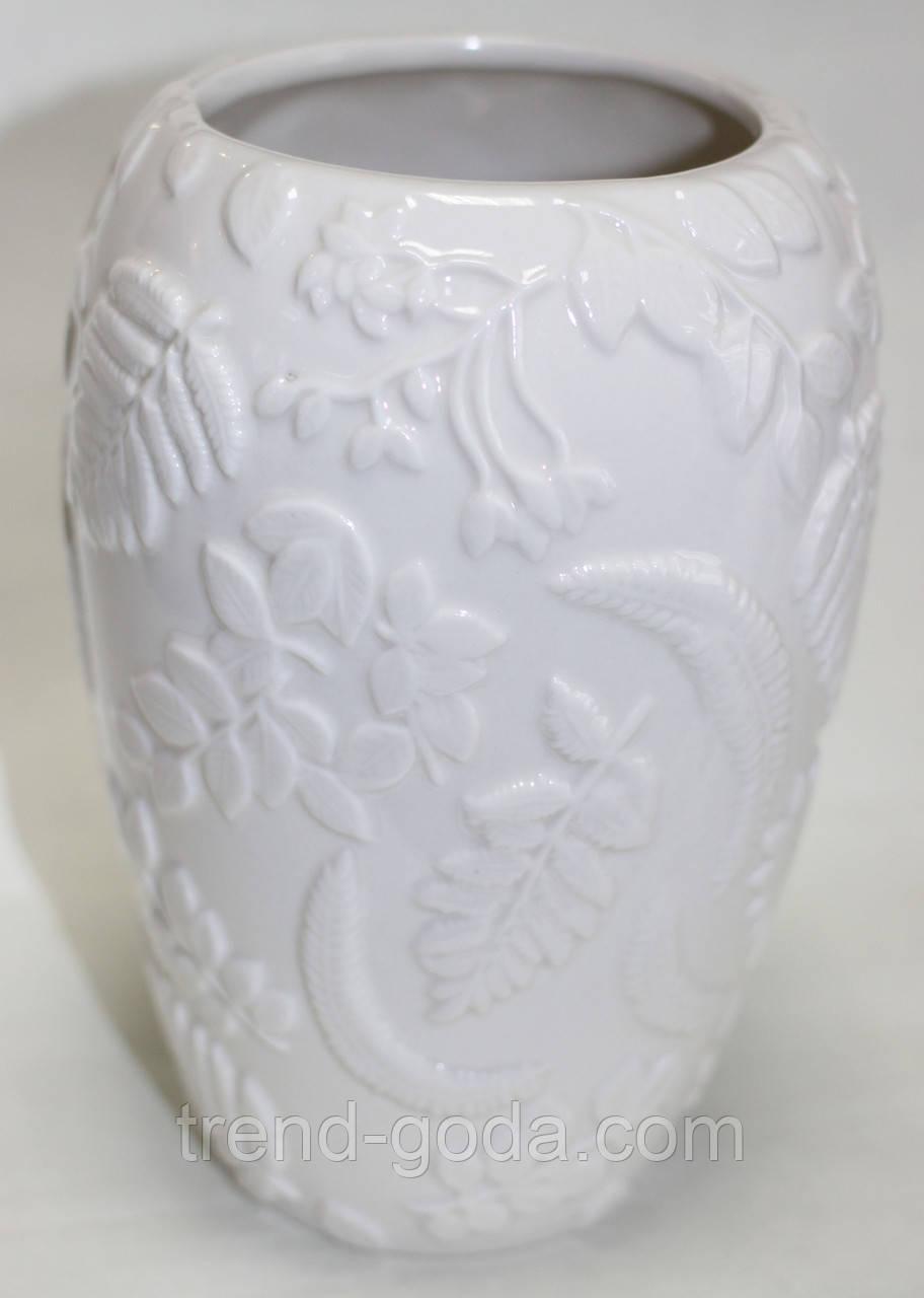 Ваза керамическая, молочная, рисунок цветы