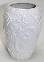 Ваза керамическая, молочная, рисунок цветы, фото 1