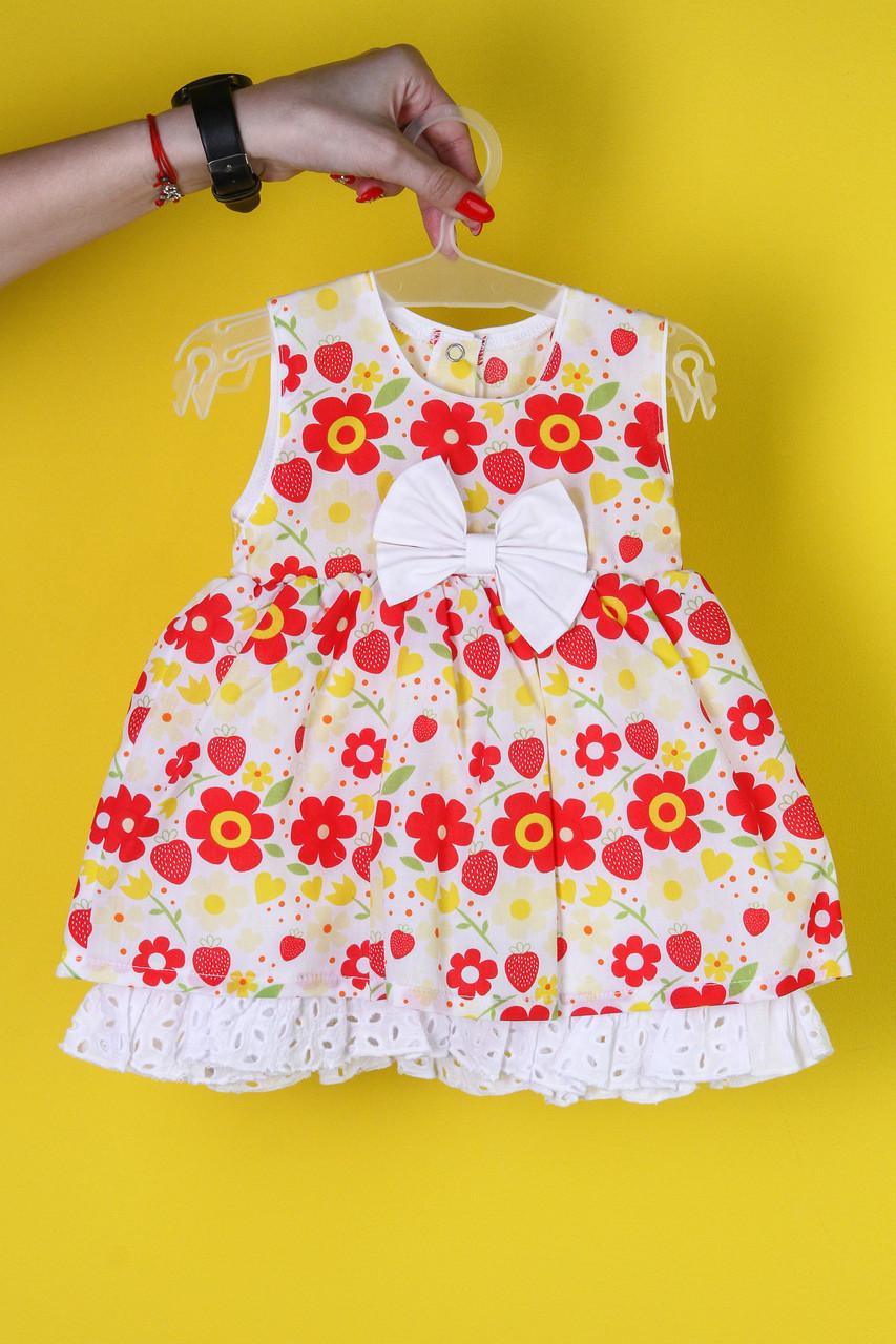 Платье детское белое с цветочками
