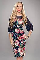 Платье женское цветочный принт шифоновый рукав