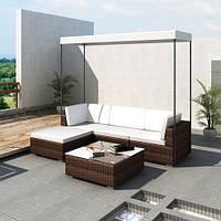 Модульні садові мебелі з штучного ротангу з дашком, фото 1