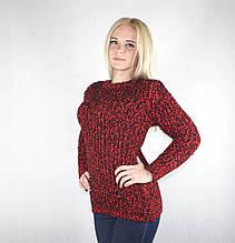 Женский теплый свитер из мягкой пряжи красно-черного цвета