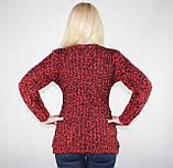 Женский теплый свитер из мягкой пряжи красно-черного цвета, фото 3