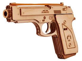 Пистолет 00010 - деревянный 3D пазл Wood trick (механический деревянный конструктор)