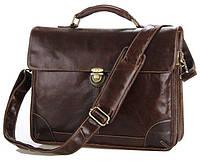 Мужской коричневый кожаный портфель Vintage 14085 в винтажном стиле