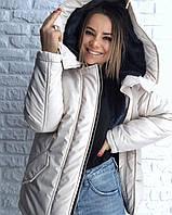 Короткая зимняя куртка с большим капюшоном 3KU183, фото 1