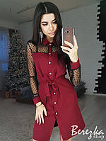 Платье-рубашка с рукавами из сетки 66PL2326, фото 1