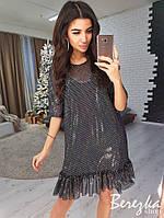 Платье-трапеция с сеткой в горошек сверху 66PL2330, фото 1
