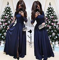 Длинное платье с кружевным верхом и шелковой юбкой 8PL2338, фото 1