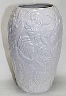 Ваза керамическая, молочная, рисунок цветы, средняя, фото 1