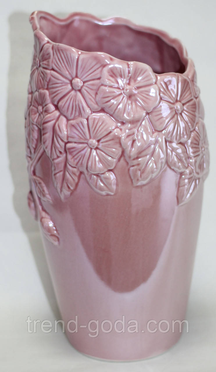 Ваза для цветов и декора керамическая, розовая с перламутром, узор цветы