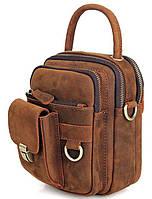 Сумка мужская Vintage 14416 в винтажном стиле Коричневая, Коричневый