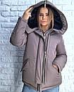 Короткая зимняя куртка с большим капюшоном 3kr183, фото 4