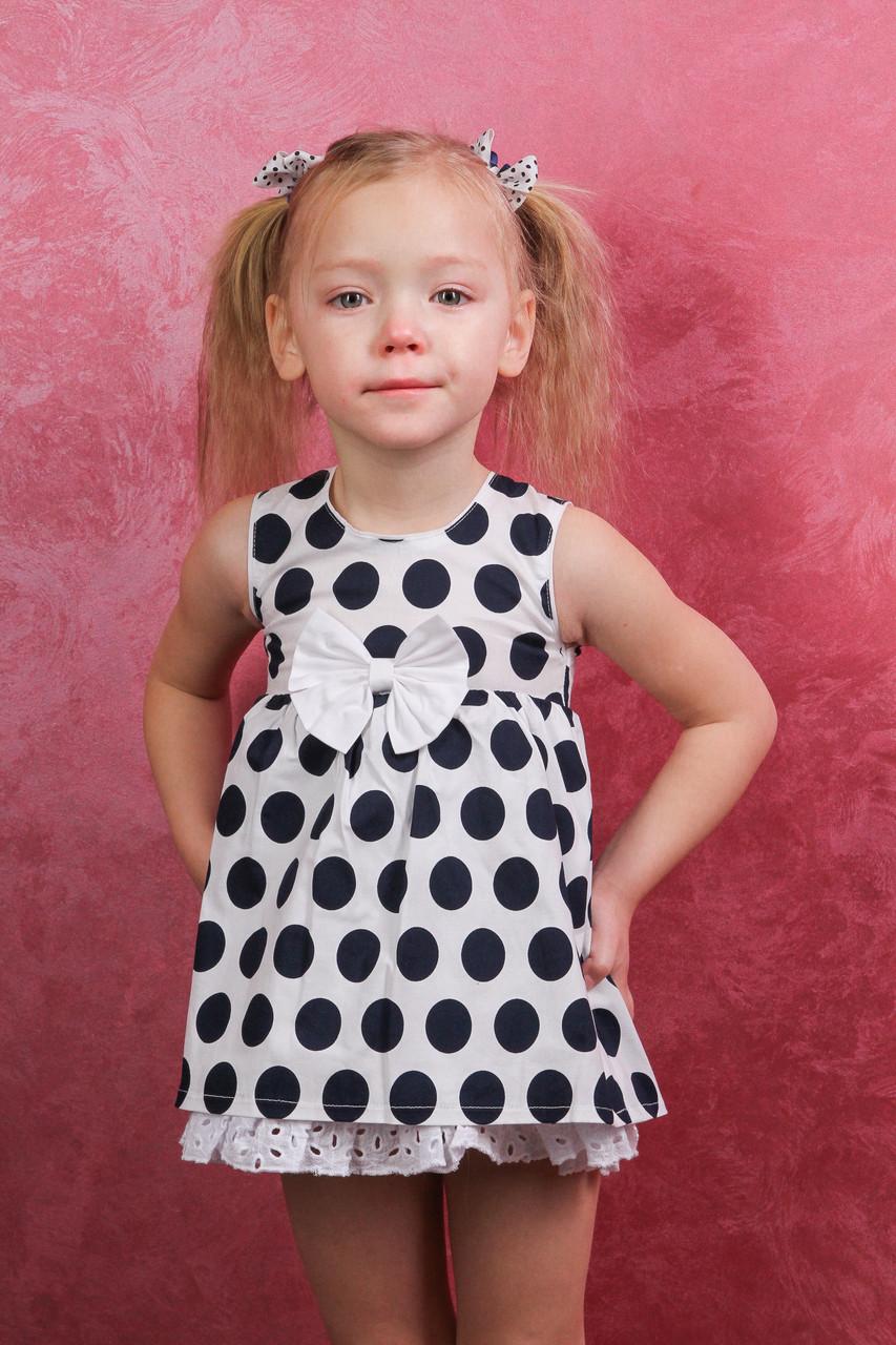 Платье детское белое в черный горошек