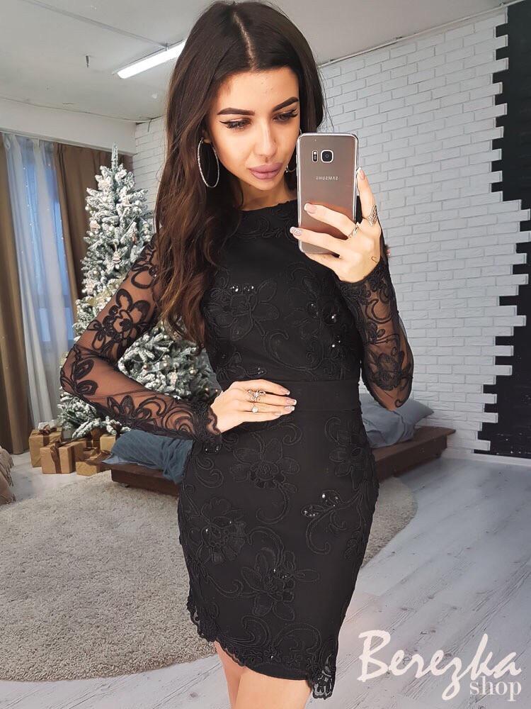 Облегающее платье с сеткой и кружевом 66py2328