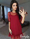 Платье-трапеция с сеткой в горошек сверху 66py2330, фото 2