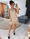 Платье-трапеция с сеткой в горошек сверху 66py2330, фото 3