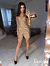 Платье в пайетку на запах с длинным рукавом 66py2331, фото 2