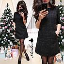 Твидовое платье-трапеция с карманами 8py2335, фото 3