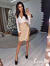Женский юбочный костюм с шелковым верхом 66ks931, фото 5