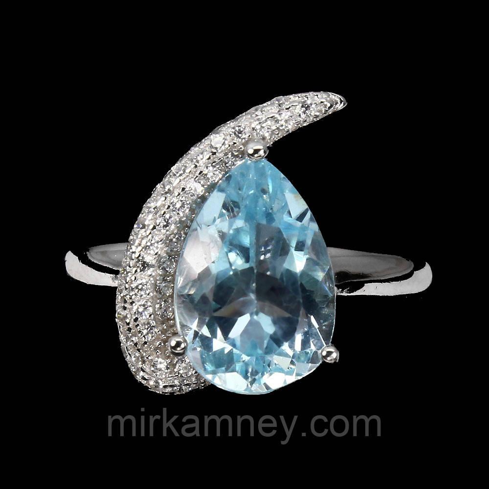 Серебряное кольцо ручной работы с голубым топазом. Размер 17