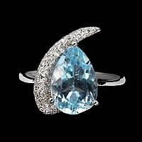 Серебряное кольцо ручной работы с голубым топазом. Размер 17, фото 1