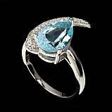 Серебряное кольцо ручной работы с голубым топазом. Размер 17, фото 2