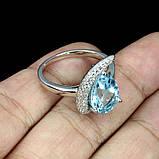 Серебряное кольцо ручной работы с голубым топазом. Размер 17, фото 3