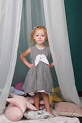 Красивое платье детское серое c бантом