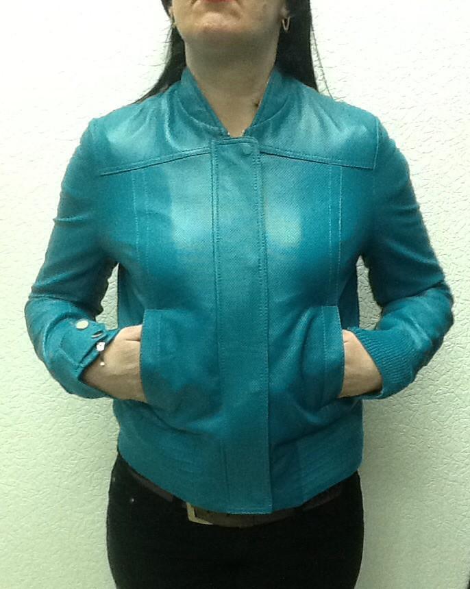 Куртка кожаная женская синяя под резинку
