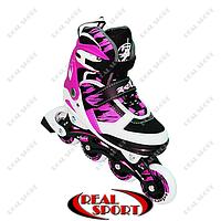 Роликовые коньки раздвижные Zelart Sport Z-600P, L (37-40), розовые, фото 1