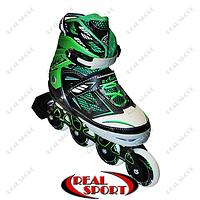 Роликовые коньки раздвижные Zelart Sport Z-9001G, зеленые, фото 1