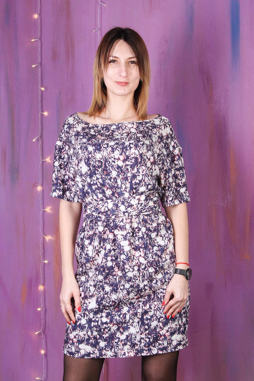 Платье женское фиолетовое с поясом