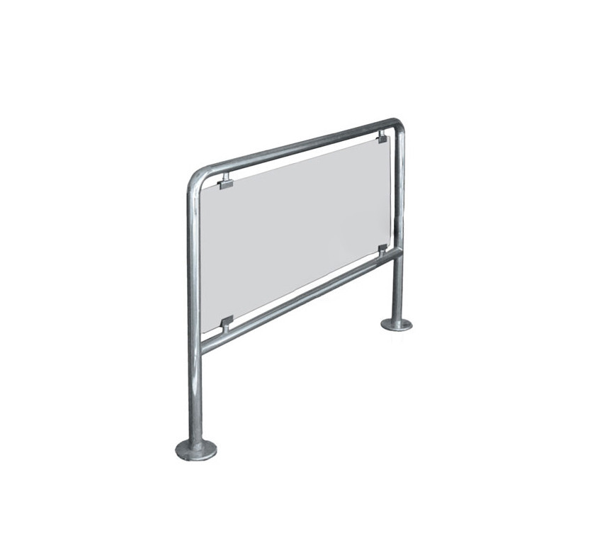 Ограждения стационарное/съемное со стеклом, шлифованная нержавеющая сталь, прозрачное стекло